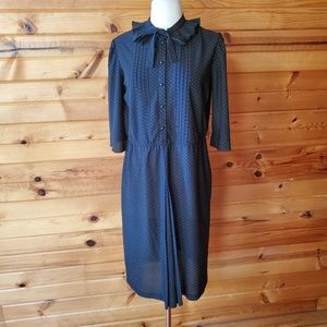 1970s Cofa's Closet Black & Gold Polka Dot Dress